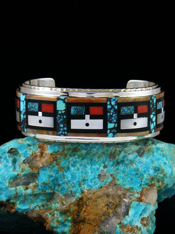Zuni Kachina Figures Inlay Sterling Silver Cuff Bracelet