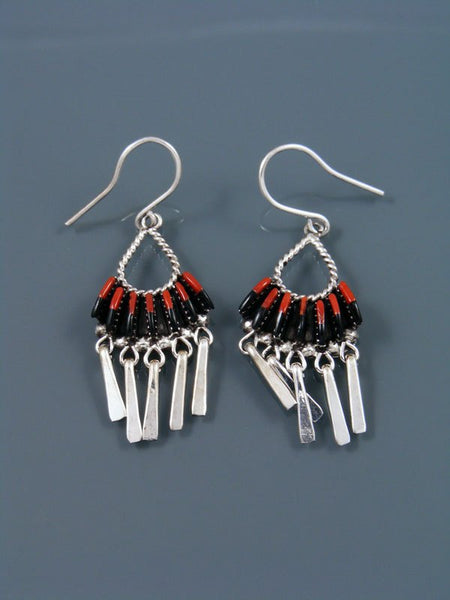 Native American Zuni Jewelry Coral and Onyx Dangle Earrings