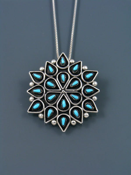 Native American Zuni Inlay Turquoise Flower Pin Pendant