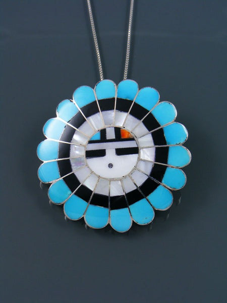 Native American Zuni Inlay Turquoise Sunface Pin/Pendant