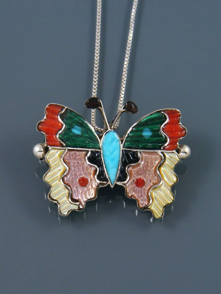 Native American Zuni Inlay Turquoise Butterfly Pin Pendant