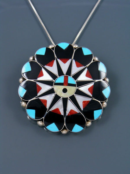 Turquoise and Coral Sterling Silver Zuni Inlay Sunface Pin Pendant