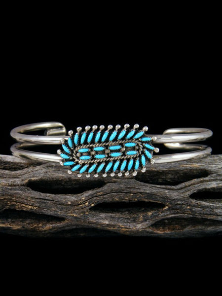 Native American Sterling Silver Zuni Sleeping Beauty Turquoise Inlay Bracelet