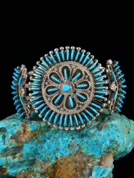 Sterling Silver Turquoise Needle Point Zuni Bracelet