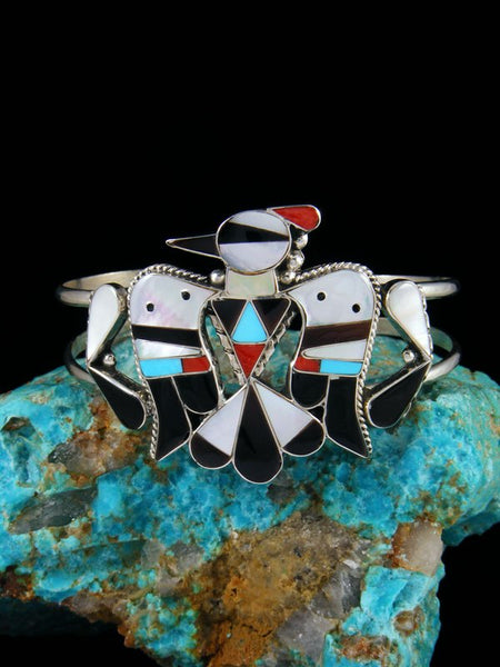 Native American Jewelry Zuni Inlay Thunderbird Cuff Bracelet
