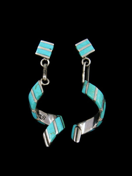 Sterling Silver Zuni Inlay Turquoise Spiral Post Earrings