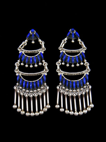 Native American Indian Jewelry Lapis Zuni Post Earrings