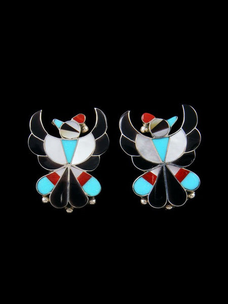 Zuni Turquoise Inlay Post Thunderbird Earrings