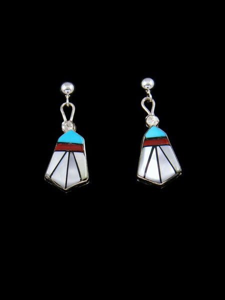 Sterling Silver Zuni Multi Stone Inlay Earrings