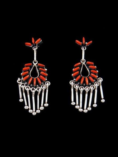 Native American Indian Jewelry Zuni Coral Earrings