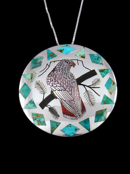 Sterling Silver Zuni Inlay Abalone Red Tailed Hawk Pin/Pendant