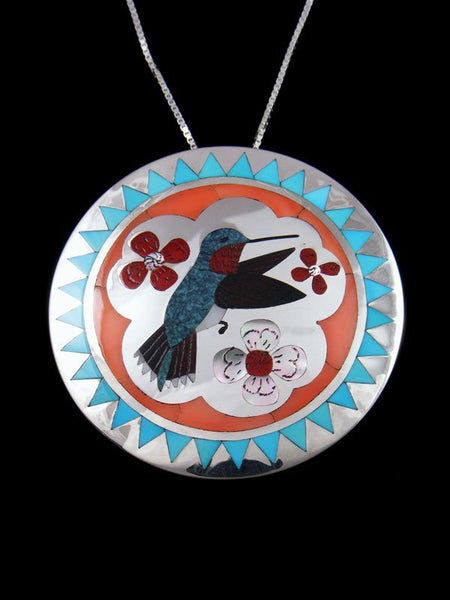 Sterling Silver Zuni Inlay Hummingbird Pin/Pendant