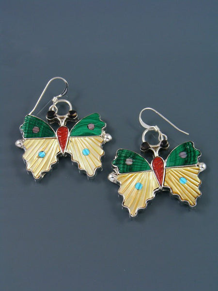 Malachite and Mother of Pearl Zuni Butterfly Dangle Earrings
