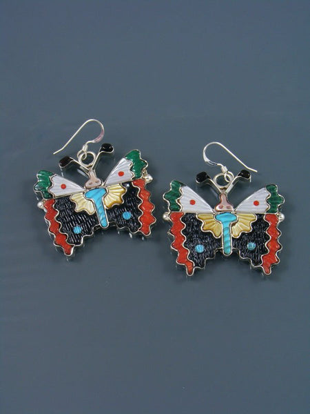 Multi Stone Zuni Butterfly Dangle Earrings