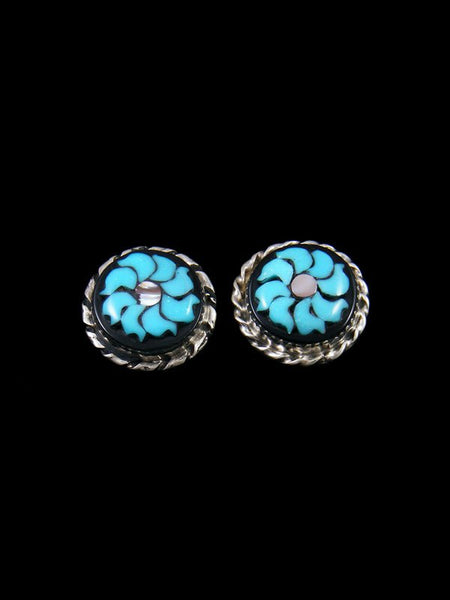 Sterling Silver Zuni Inlay Flower Post Earrings