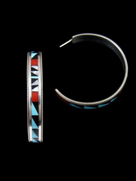 Sterling Silver Zuni Turquoise and Coral Inlay Hoop Earrings