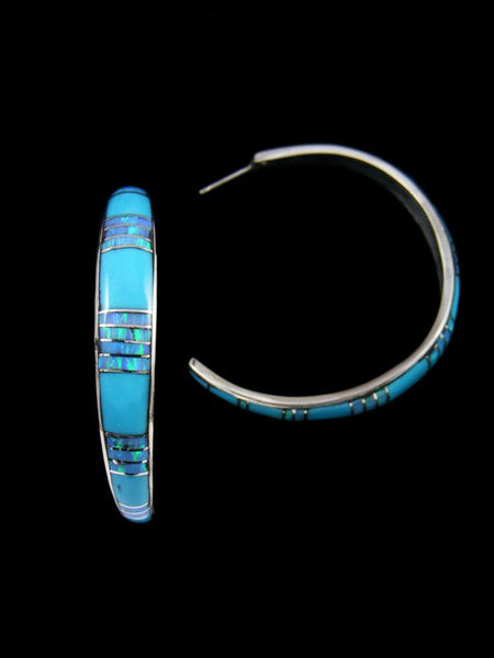 Turquoise and Opalite Zuni Inlay Half Hoop Post Earrings