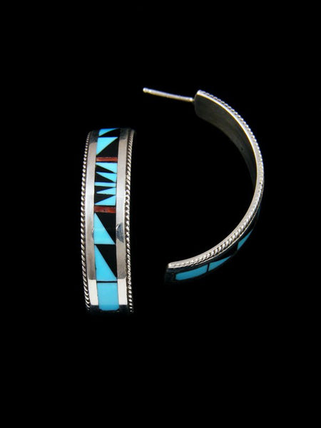 Sterling Silver Zuni Turquoise and Coral Inlay Half Hoop Earrings