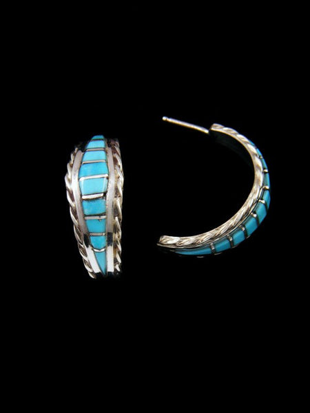 Turquoise Zuni Inlay Half Hoop Earrings