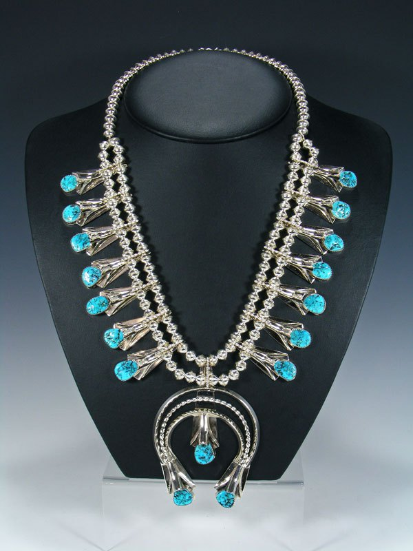 Navajo Turquoise Sterling Silver Squash Blossom Necklace Set