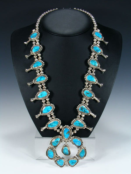 Native American Blue Ridge Turquoise Squash Blossom Necklace and Earrings Set