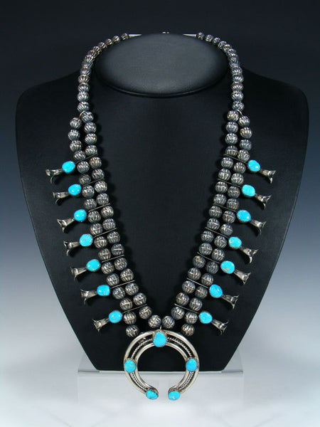 Navajo Turquoise Sterling Silver Bead Squash Blossom Necklace and Earring Set