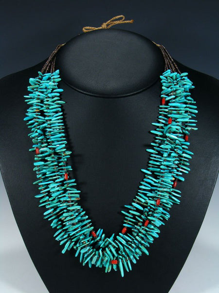 Native American Santo Domingo Coral and Natural Kings Manassa Turquoise Necklace