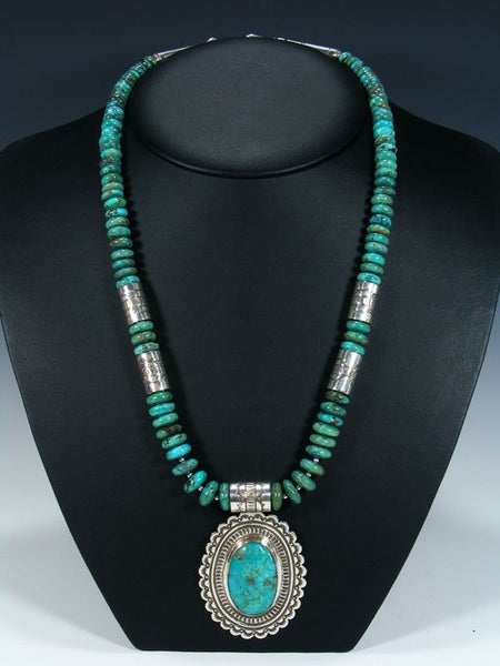 Native American Indian Jewelry Single Strand Turquoise Necklace with Pendant
