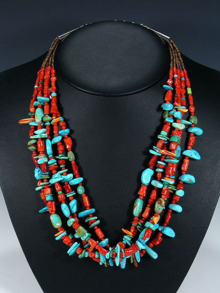 Native American Santo Domingo Natural Coral Treasure Necklace