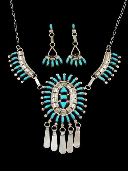 Turquoise Needlepoint Sterling Silver Zuni Necklace