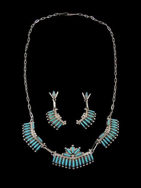 Native American Zuni Turquoise Petit Point Necklace and Earrings Set