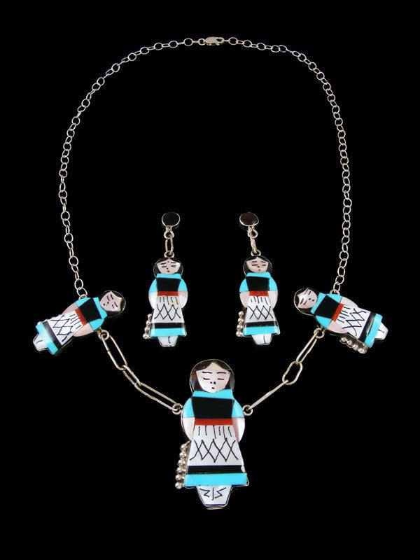 Native American Zuni Inlay Maiden Necklace and Earring Set