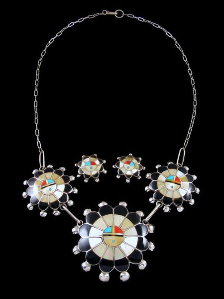 Sterling Silver Zuni Sunface Necklace and Earring Set