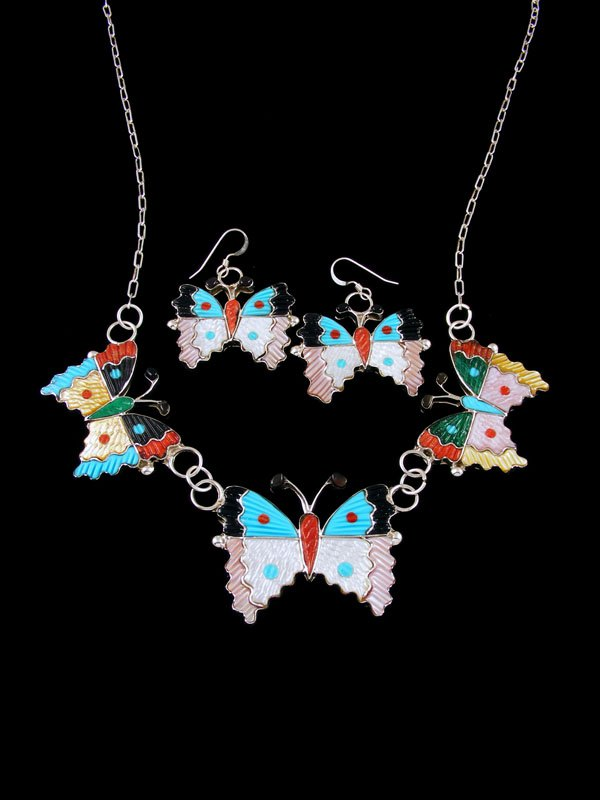Native American Zuni Inlay Mother of Pearl Butterfly Necklace Set