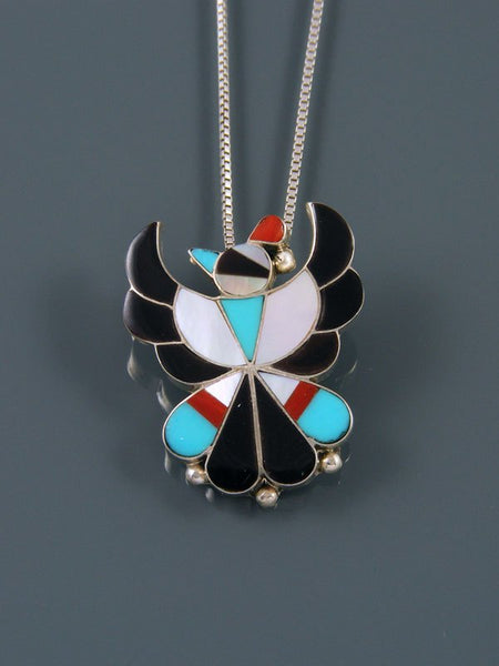 Sterling Silver Native American Zuni Inlay Thunderbird Pendant