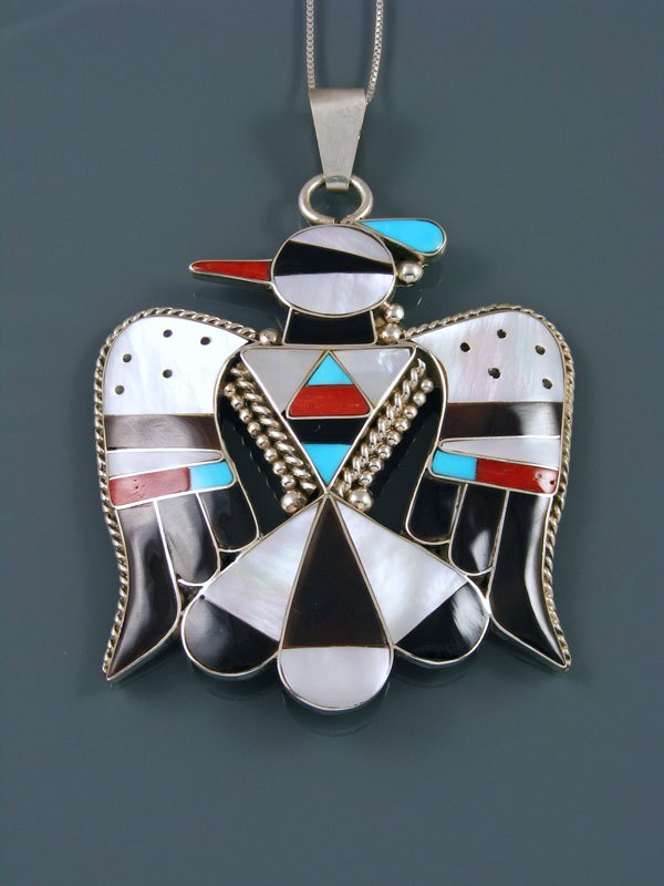 Mother of Pearl Sterling Silver Zuni Inlay Thunderbird Pendant