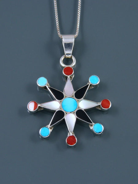 Native American Zuni Inlay Coral and Turquoise Star Pendant