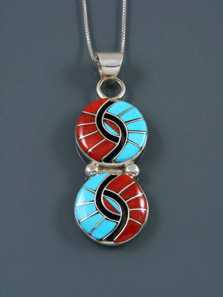 Sterling Silver Turquoise and Coral Zuni Inlay Pendant