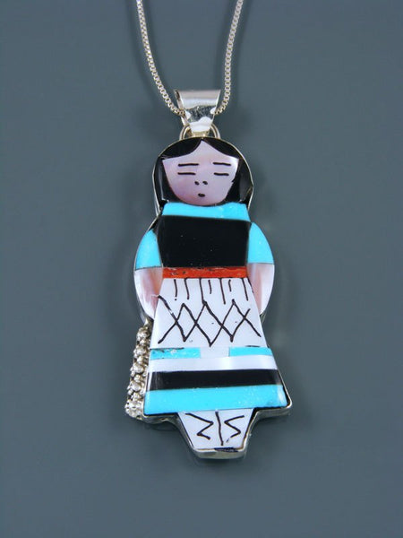 Native American Zuni Inlay Turquoise Maiden Pendant