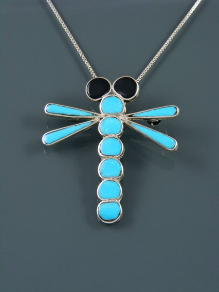 Native American Zuni Inlay Turquoise Dragonfly Pin/Pendant
