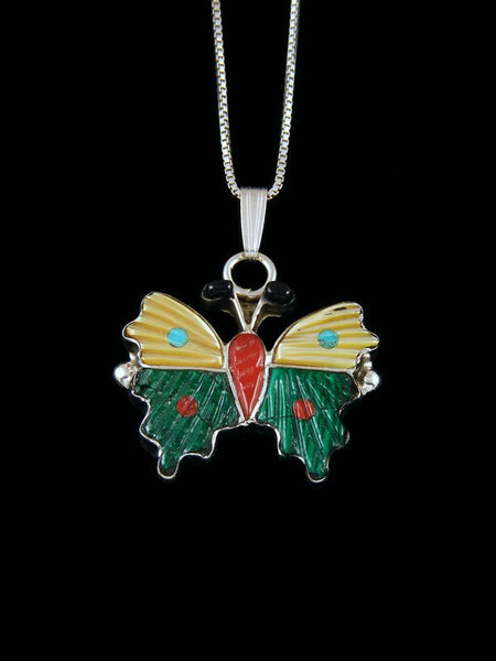 Native American Zuni Inlay Mother of Pearl and Malachite Butterfly Pendant
