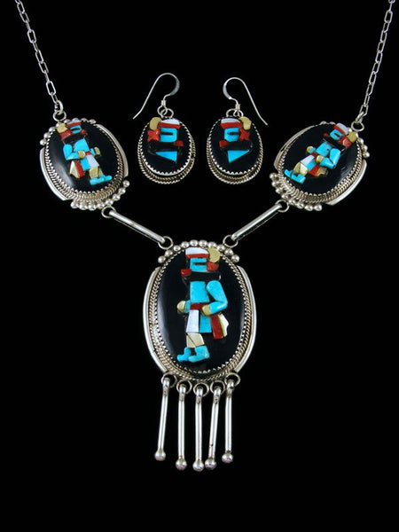 Sterling Silver Zuni Inlay Kachina Necklace and Earrings Set