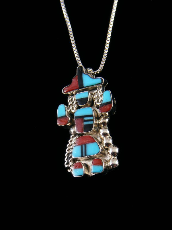 Native American Turquoise and Coral Zuni Inlay Pin Pendant