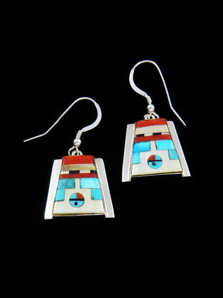 Sterling Silver Mother of Pearl Zuni Inlay Sunface Dangle Earrings