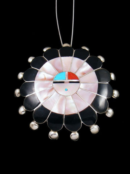 Pink Shell Sterling Silver Zuni Inlay Sunface Pin Pendant