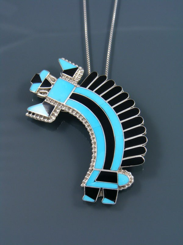 Turquoise and Onyx Sterling Silver Inlay Zuni Yei Figure Pin/Pendant