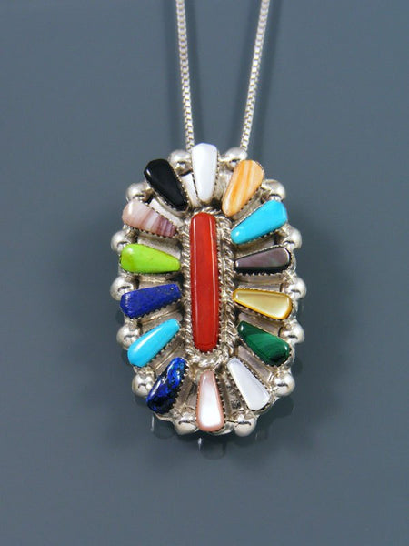 Turquoise and Coral Inlay Sterling Silver Zuni Pin Pendant