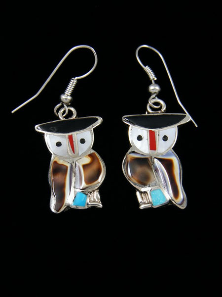 Zuni Inlay Mother of Pearl Dangle Owl Earrings