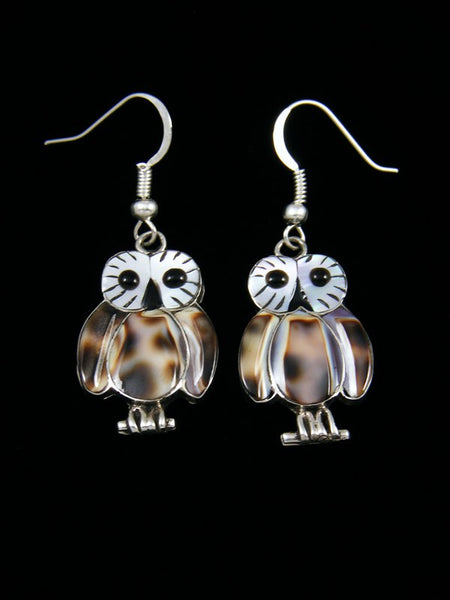 Shell Zuni Inlay Owl Dangle Earrings