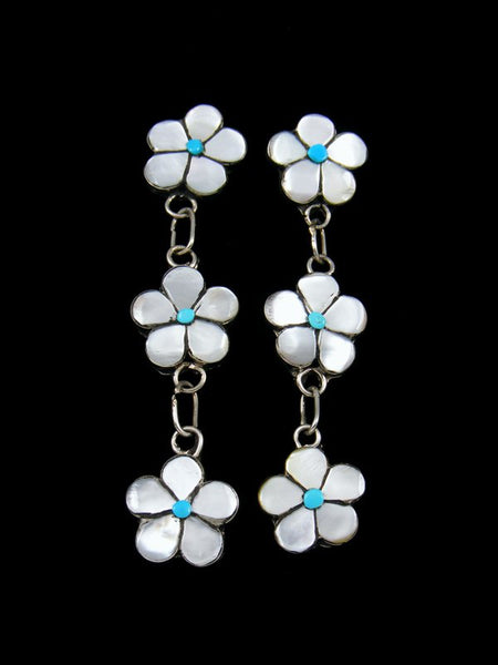 Zuni Sterling Silver Mother of Pearl Post Flower Earrings